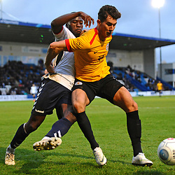 TELFORD COPYRIGHT MIKE SHERIDAN 1/12/2018 - Dan Udoh of AFC Telford battles for the ball with Mark Ross during the Vanarama Conference North fixture between AFC Telford United and Bradford Park Avenue AFC.