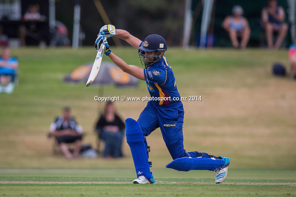 Aaron Redmond bats for the Otago Volts - Volts v Knights, 27 December 2014, Saturday, 27 December 2014, Molyneux Park, Alexandra - List-A Match - Ford Trophy CREDIT: Libby Law /