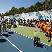 August 19, 2014, New Haven, CT:<br /> Arantxa Parra Santonja and Silvia Soler-Espinosa speak during the Latino Day tennis clinic on day five of the 2014 Connecticut Open at the Yale University Tennis Center in New Haven, Connecticut Tuesday, August 19, 2014.<br /> (Photo by Billie Weiss/Connecticut Open)