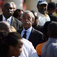 The Reverand Al Sharpton arrives prior to a rally for the shooting of Trayvon Martin on Thursday,March 22, 2012 at Fort Mellon Park in Sanford, Florida. (AP Photo/Alex Menendez) Trayvon Martin rally in Sanford, Florida.