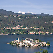 Isola San Giulio vista dal Sacro Monte di Orta..San Giulio island seen from Sacred Mount of Orta
