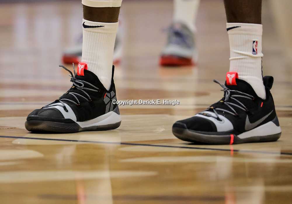 Oct 23, 2018; New Orleans, LA, USA; A detail of shoes worn by New Orleans Pelicans forward Julius Randle during warm ups before a game against the Los Angeles Clippers at the Smoothie King Center. The Pelicans defeated the Clippers 116-109. Mandatory Credit: Derick E. Hingle-USA TODAY Sports