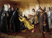 Ivan the Terrible begs to become a Monk by K  Lebedev.  Ivan IV 'the Terrible' (1530 – 1584) Tsar of Russia 1533 - 1584