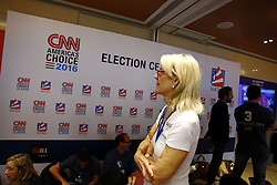 November 9, 2016 - An American woman watch live TV coverage of U.S. Presidential Election 2016 on the voting day at the voting centre hosted by American Chamber of Commerce in Hong Kong. Nov 9, 2016. Hong Kong. Liau Chung Ren/ZUMA (Credit Image: © Liau Chung Ren via ZUMA Wire)