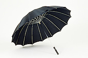 an open black umbrella