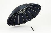 an open black umbrella