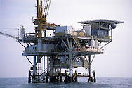 Offshore coastal Oil drilling platform rig in the Santa Barbara Channel, California