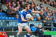 Chesterfield midfielder Jak McCourt (26) urges his players forward during the EFL Sky Bet League 2 match between Chesterfield and Mansfield Town at the Proact stadium, Chesterfield, England on 14 A pril 2018. Picture by Nigel Cole.