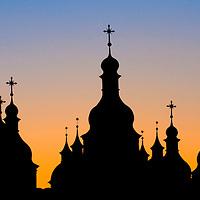 silhouette of church in Kiev the capital of Ukraine