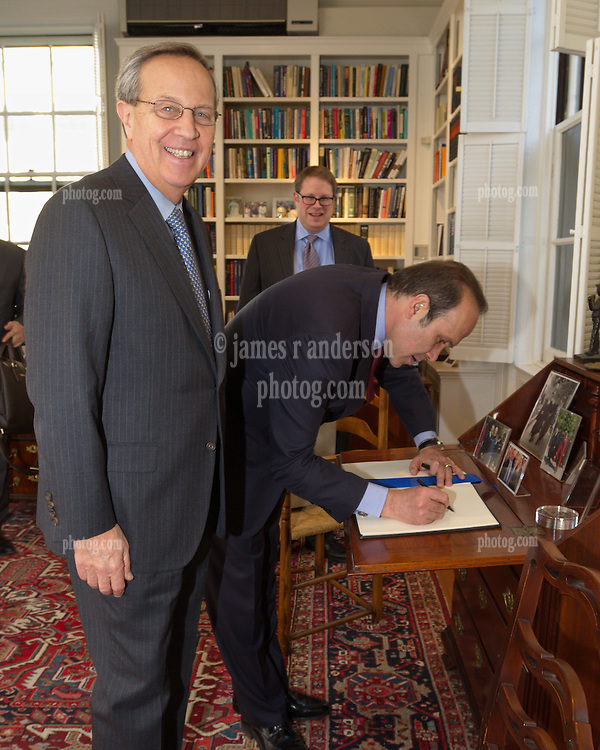 Turkish Ambassador to the United States, His Excellency Namik Tan visit to Yale University. Signing President Rick Levin's Guest Book in his office | 6 December 2012