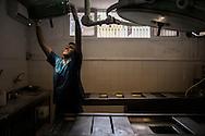 Gaza Strip, Gaza Strip: A mortician prepares the lights in Al Shifa hospital morgue on August 8, 2012. ALESSIO ROMENZI