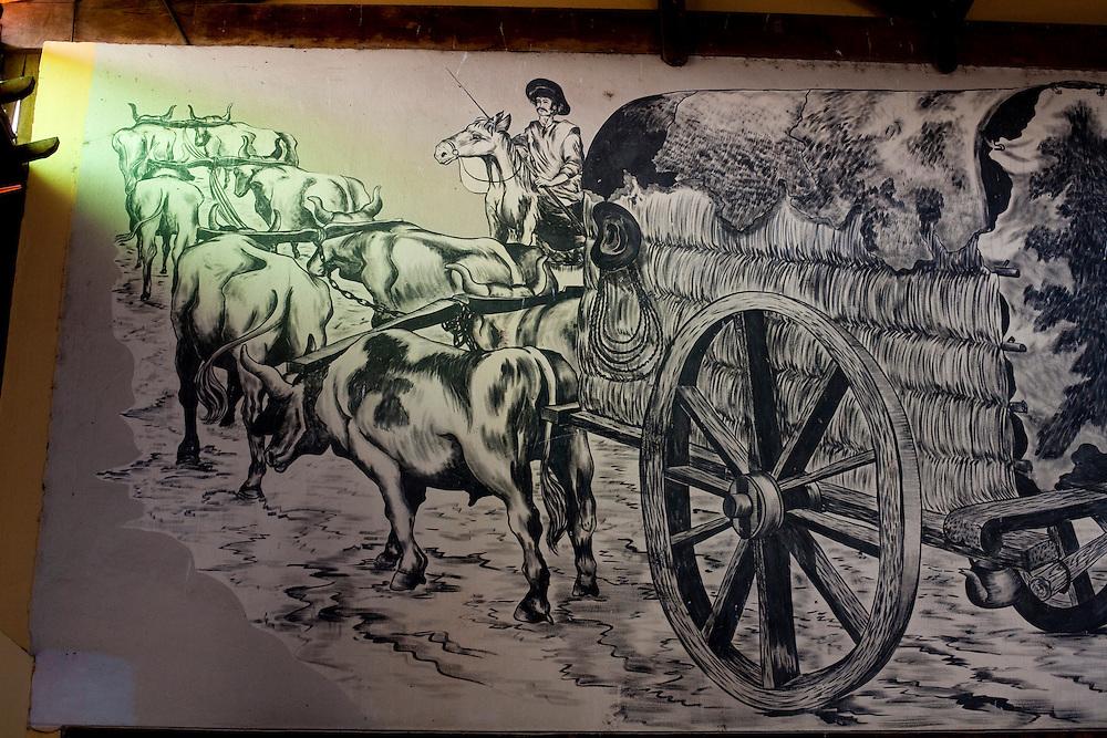 Nepomuceno_MG, Brasil...Detalhe de um quadro com o desenho de carro de boi...Detail of a picture with a oxcart draw. ..Foto: LEO DRUMOND / NITRO
