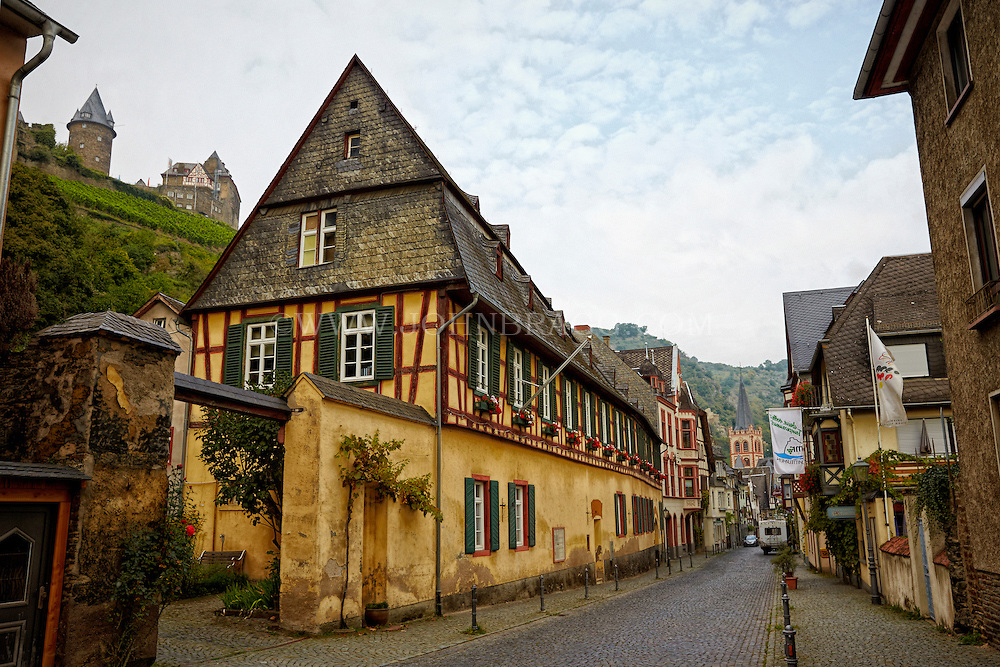 View of Alter Zollhof, the former town hall of Bacharach, Germany.