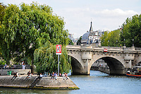 Paris, France. View from a boat on the river Seine. Iles de la Cite and Pont Neuf, the oldest bridge in Paris.