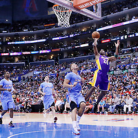 06 April 2014: Los Angeles Lakers guard Jodie Meeks (20) goes for the jumpshot over Los Angeles Clippers forward Blake Griffin (32) during the Los Angeles Clippers 120-97 victory over the Los Angeles Lakers at the Staples Center, Los Angeles, California, USA.
