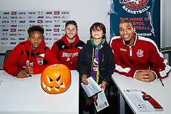 Bobby Reid and Wes Burns of Bristol City Football Club and Greg Streete of Bristol Flyers Basketball meet fans as Season ticket holders and members of Bristol Sport 7s and Forever Bristol take part in a Bristol Sport Halloween Event - Mandatory byline: Rogan Thomson/JMP - 07966 386802 - 29/10/2015 - SPORT - Ashton Gate Stadium - Bristol, England - Bristol Sport Halloween at Ashton Gate.