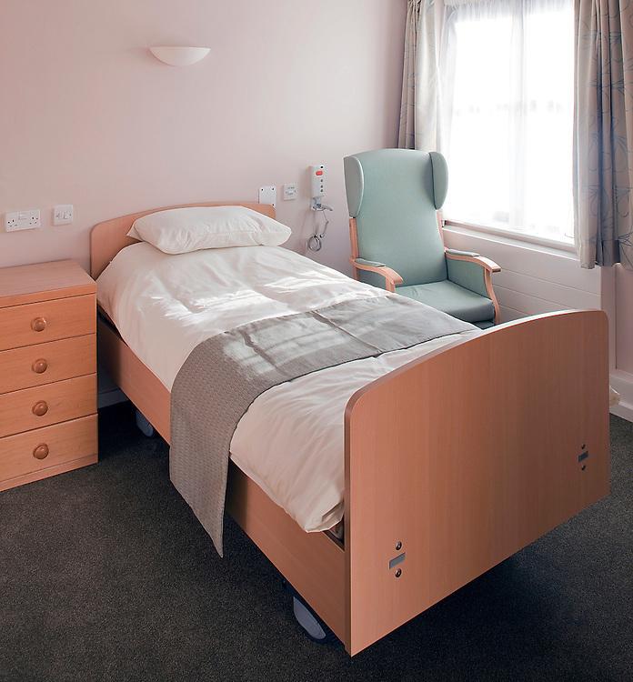 bedroom in nursing home for old people in kent