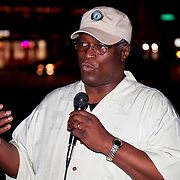 Mayor Sly James gives a statement to the news media about the problems with the youth flash mobs on the Plaza in Kansas City MO.