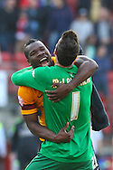 Aaron McLean of Bradford City (left) celebrates with Jon McLaughlin of Bradford City (right) after the Sky Bet League 1 match at the Matchroom Stadium, London<br /> Picture by David Horn/Focus Images Ltd +44 7545 970036<br /> 29/03/2014