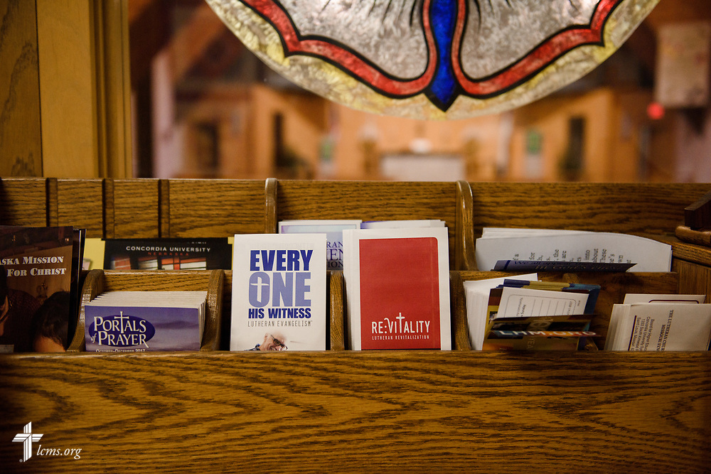 Literature in the narthex on Sunday, Sept. 24, 2017, at Faith Lutheran Church, York, Neb. LCMS Communications/Erik M. Lunsford