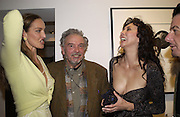 Catherine Bailey, David Bailey and Marie Helvin. Dom Perignon collection, 'Platinum' by David Bailey. Hamiltons, 19 November 2002. .© Copyright Photograph by Dafydd Jones 66 Stockwell Park Rd. London SW9 0DA Tel 020 7733 0108 www.dafjones.com