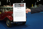 RIAC Classic Car Show 2013, RDS, MG TD, was produced between 1945-1953. New two-seater sports design, with independent front suspension and rack-and-pinion steering as Y Type. 1250cc four cylinder ohv engine, (as in TC). 54.4 bhp at 5,400 rpm. Bolt on disc wheels (pierced on later cars). TD Mk II available (1950 onwards) with increased power (57 bhp at 5,500 tmp) and optional centre-lock wire wheels. Irish, Photo, Archive.