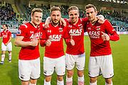 DEN HAAG - 21-04-2016, ADO Den Haag - AZ, Kyocera Stadion, 1-2, AZ speler Mattias Johansson, AZ speler Muamer Tankovic, AZ speler Ben Rienstra, AZ speler Vincent Janssen na afloop.