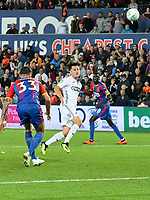 Football - 2018 / 2019 EFL Carabao Cup (League) Cup - Swansea City vs. Crystal Palace<br /> <br /> Liam Cullen, of Swansea City heads at goal in the dying minutes of the game , at Liberty Stadium.<br /> <br /> COLORSPORT/WINSTON BYNORTH