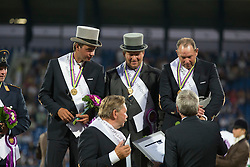 Team Netherlands, Chardon IJsbrand, De Ronde Koos, Timmerman Theo<br /> Driving competition Prizegiving<br /> European Championships - Aachen 2015<br /> © Hippo Foto - Dirk Caremans<br /> 22/08/15