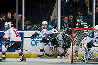 KELOWNA, CANADA - JANUARY 9: Devin Steffler #4 of the Kelowna Rockets skates from behind the net against the Everett Silvertips  on January 9, 2019 at Prospera Place in Kelowna, British Columbia, Canada.  (Photo by Marissa Baecker/Shoot the Breeze)