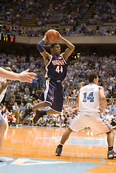 Virginia point guard Sean Singletary (44) passes the ball in action against UNC.  The #1 ranked Tar Heels beat the Cavaliers 79-69 to improved to 15-1 overall, 2-0 ACC on January 10, 2007 at the Dean Smith Center in Chapel Hill, NC...<br />