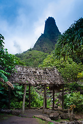 Iao Needle and Grass Shack, 'Iao Valley State Monument, Maui, Hawaii, US