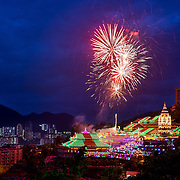 Fireworks on Chinese New Year over the Kek Lok Si Temple, Penang , Malaysia