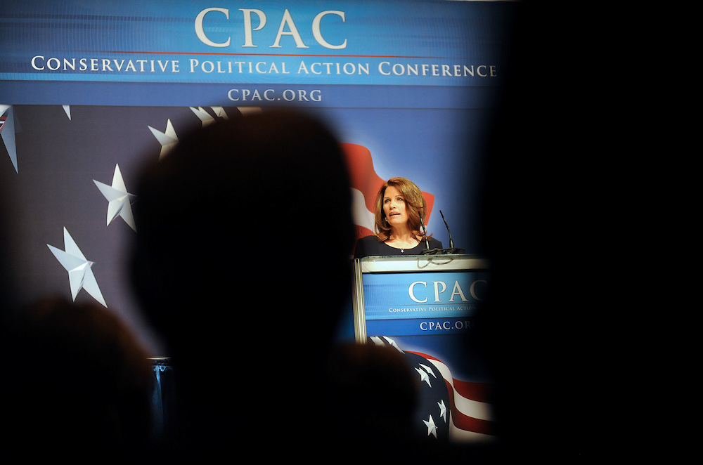 Rep. Michele Bachmann (R-Minn.) addresses the crowd at the 37th Annual Conservative Political Action Conference held at Marriott Wardman Park Hotel in Washington DC on Friday, Feb. 19, 2009. (Amanda Lucidon/For The New York Times)