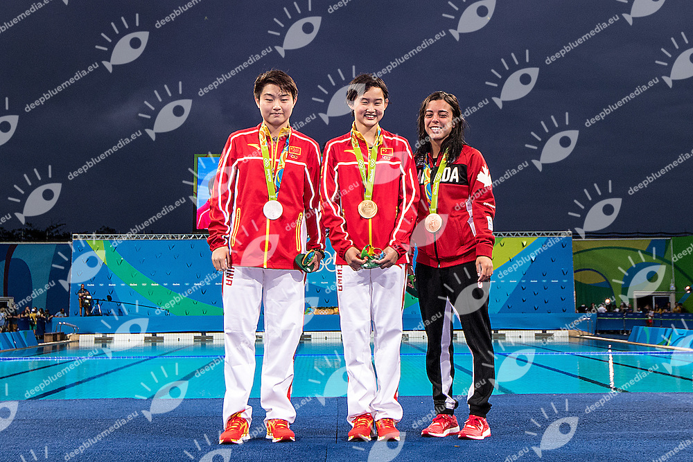 SI Yajie CHN silver medal, REN Qian CHN gold medal, BENFEITO Meaghan CAN bronze medal<br /> 10m platform women <br /> Rio de Janeiro  XXXI Olympic Games <br /> Maria Lenk Aquatics Centre<br /> Diving final 18/08/2016<br /> Photo Giorgio Scala/Deepbluemedia/Insidefoto