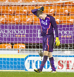 BLACKPOOL, ENGLAND - Wednesday, December 18, 2013: Liverpool's goalkeeper Ryan Crump looks dejected as Blackpool score the third goal during the FA Youth Cup 3rd Round match at Bloomfield Road. (Pic by David Rawcliffe/Propaganda)