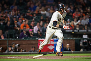 San Francisco Giants left fielder Jarrett Parker (6) runs out a hit against the Los Angeles Dodgers at AT&T Park in San Francisco, California, on September 13, 2017. (Stan Olszewski/Special to S.F. Examiner)