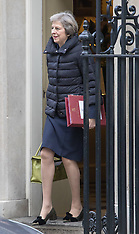 2017-01-11 Theresa May leaves Downing Street to attend Prime Minister's Question Time.