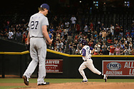 PHOENIX, AZ - APRIL 27:  Yasmany Tomas #24 of the Arizona Diamondbacks hits a two run homer off Jered Weaver #27 of the San Diego Padres in the fourth inning at Chase Field on April 27, 2017 in Phoenix, Arizona.  (Photo by Jennifer Stewart/Getty Images)