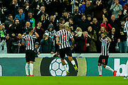 Ayoze Perez (#17) of Newcastle United and DeAndre Yedlin (#22) of Newcastle United celebrates Newcastle United's first goal (1-1) scored by Ayoze Perez (#17) of Newcastle United during the Premier League match between Newcastle United and Wolverhampton Wanderers at St. James's Park, Newcastle, England on 9 December 2018.