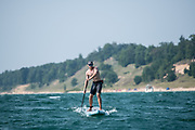 Standup paddling on Lake Michigan near Frankfort and Muskegon Michigan with SUP Magazine and members of the Great Lakes Surf Festival.