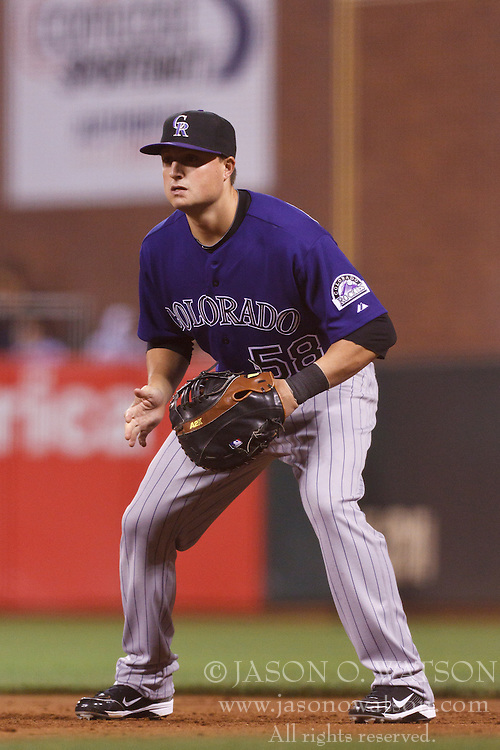 Sep 26, 2011; San Francisco, CA, USA;  Colorado Rockies third baseman Jordan Pacheco (58) stands in the infield against the San Francisco Giants during the sixth inning at AT&T Park. San Francisco defeated Colorado 3-1.