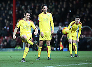 Burnley midfielder Joey Barton scoring from free kick during the Sky Bet Championship match between Brentford and Burnley at Griffin Park, London, England on 15 January 2016. Photo by Matthew Redman.