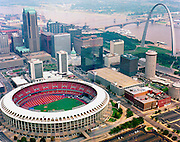 Aerial photograph of Busch Stadium, home of the St. Louis Cardinals Baseball