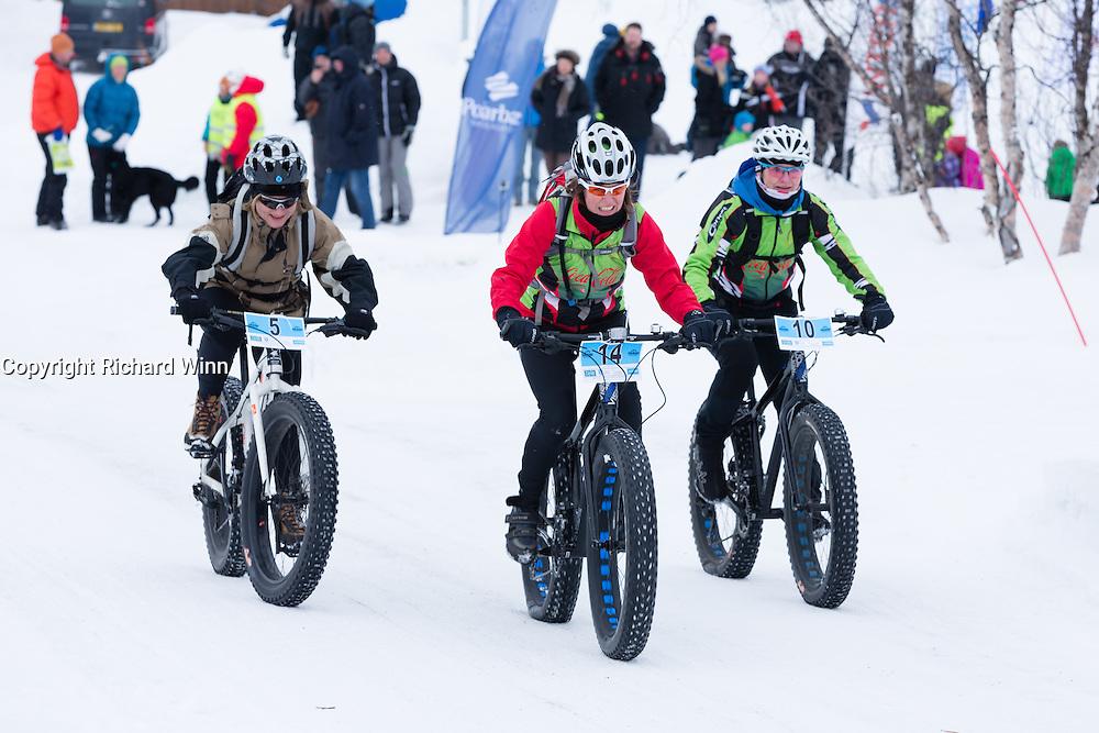 The start of the inaugural Skaidi Fat Bike Race, outside Skaidi Hotel, FInnmark, Norway.