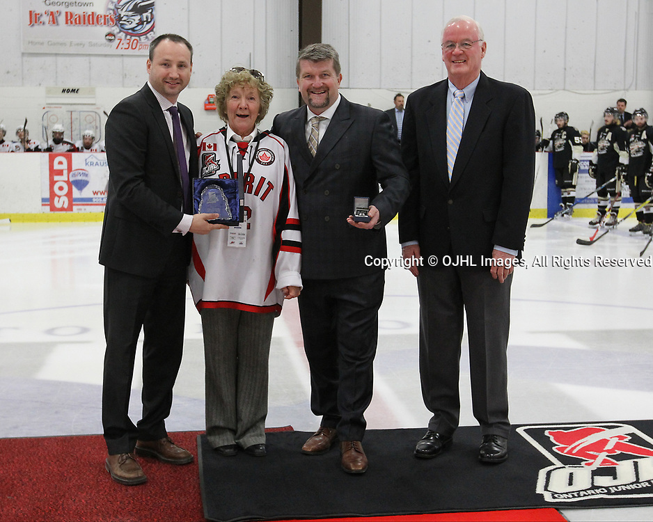 GEORGETOWN, ON  - APR 13,  2017: Ontario Junior Hockey League, Championship Series. Georgetown Raiders vs the Trenton Golden Hawks in Game 1 of the Buckland Cup Final. The 2017 OJHL Awards presentation held in a pre-game ceremony before game one of the Buckland Cup Championship Series, in Georgetown Ontario. Volunteer-of-the-Year, Lorna Burrows of the Stouffville Spirit<br /> (Photo by Tim Bates / OJHL Images)