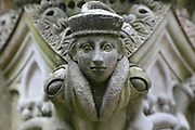 Sculpted figure on the King's fountain, built 1537, in the inner courtyard of Linlithgow Palace, built 15th century under king James I, and rebuilt 1618-22 by king James VI, a royal palace and residence for Scottish monarchs, in West Lothian, Scotland. The fountain was commissioned by James V and is the oldest fountain in Britain. It was restored in 2005. Mary Queen of Scots was born here. The palace was a resting place for Stuart royalty travelling between Edinburgh and Stirling. The Renaissance style palace was burned in 1746 and has since been restored and is now run by Historic Environment Scotland. Picture by Manuel Cohen