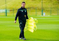 18/08/15<br /> CELTIC TRAINING<br /> LENNOXTOWN<br /> Celtic manager Ronny Deila sports a smile during training