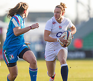 Sarah McKenna in action, England Women v Italy Women in Women's 6 Nations Match at Twickenham Stoop, Twickenham, England, on 15th February 2015. Final score 39-7.