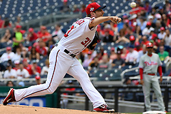 May 6, 2018 - Washington, DC, U.S. - WASHINGTON, DC - MAY 06:  Washington Nationals starting pitcher Max Scherzer (31) pitches in the first inning during the game between the Philadelphia Phillies and the Washington Nationals on May 6, 2018, at Nationals Park, in Washington D.C.  The Washington Nationals defeated the Philadelphia Phillies, 5-4.  (Photo by Mark Goldman/Icon Sportswire) (Credit Image: © Mark Goldman/Icon SMI via ZUMA Press)